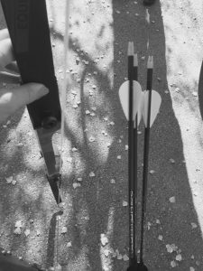 Zu Beginn des Parcours hatte ich ziemlichen Respekt vor den Pfeilen und meinem Bogen.