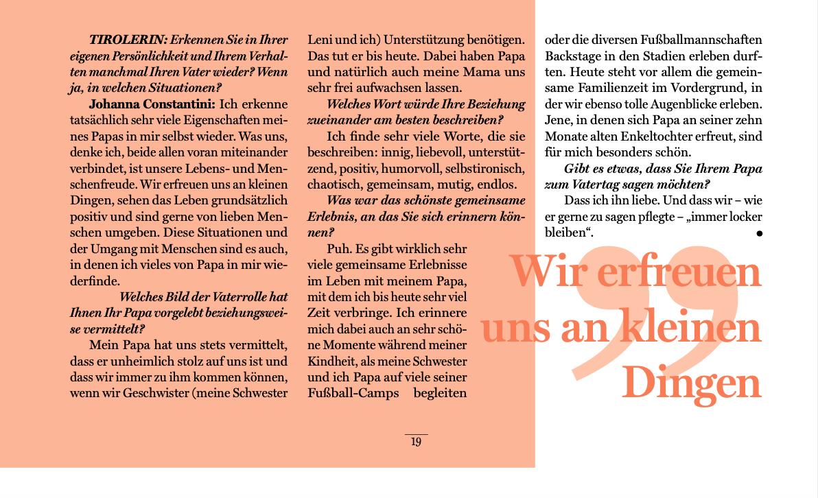 Ein Interview zum Vatertag für die Tirolerin